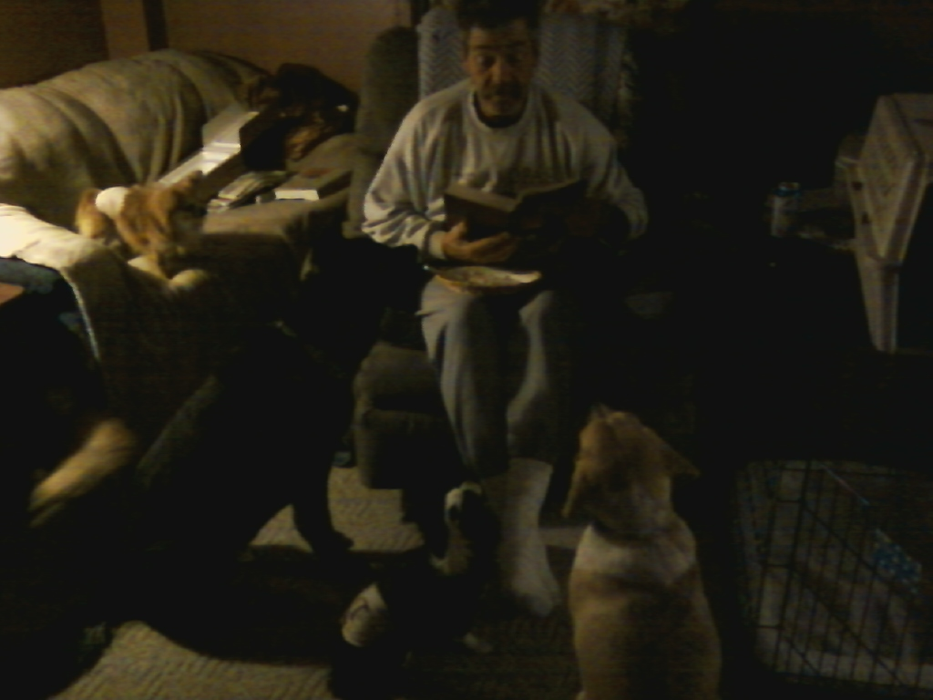 Craig reading the bible to the dogs